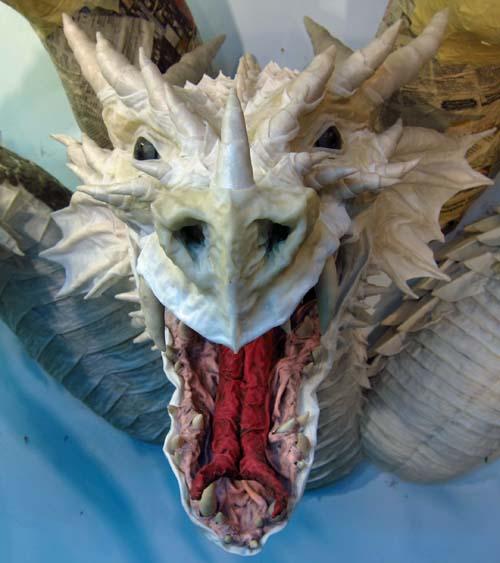 Paper Mache Tiamat dragon -red head on