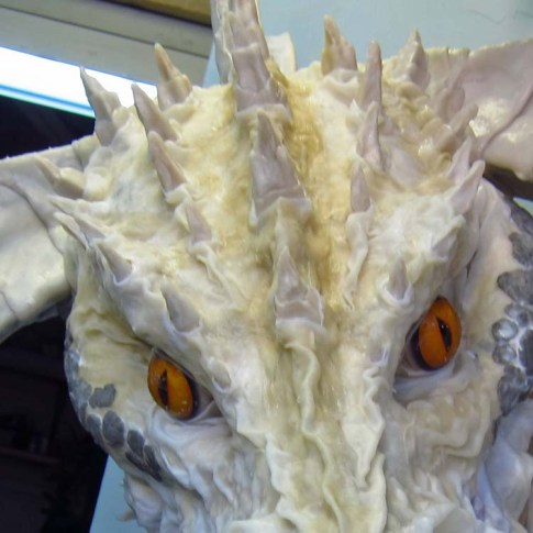 Paper Mache Tiamat dragon - black dragon forhead spikes