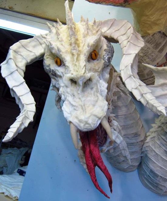 Paper Mache Tiamat Dragon - Black dragon assembled 2