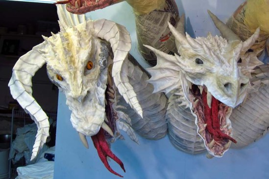 Paper Mache Tiamat Dragon - Black dragon assembled