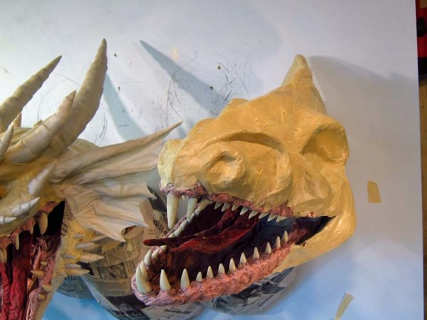 Paper Mache Tiamat dragon -white sculpt face