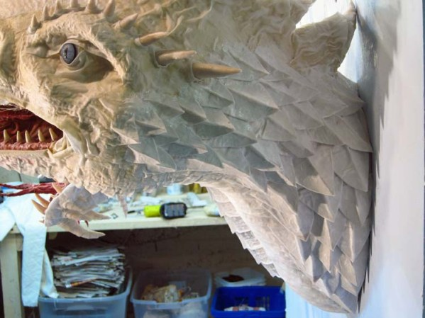 Paper Mache Tiamat Dragon - White Dragon Scales