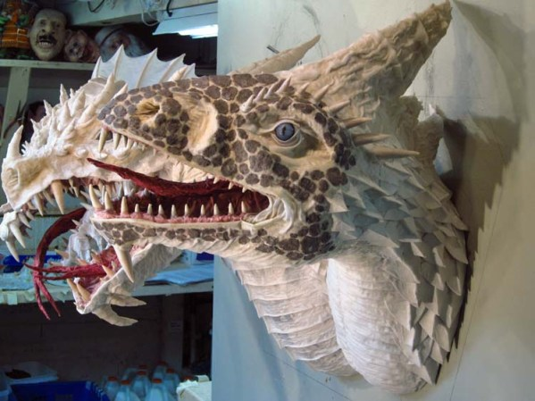 Paper Mache Tiamat Dragon - White finished side