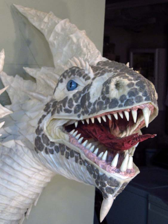Paper Mache Tiamat Dragon - White sculpted front
