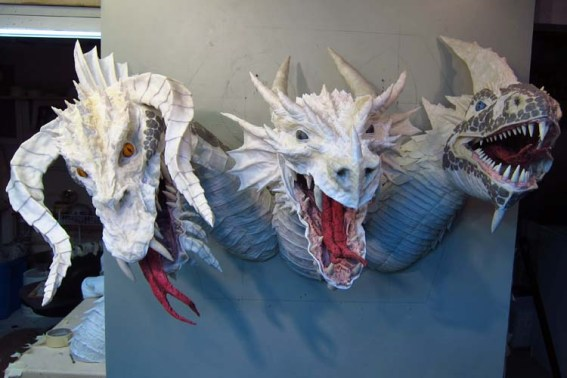 Paper Mache Tiamat Dragon - white sculpted