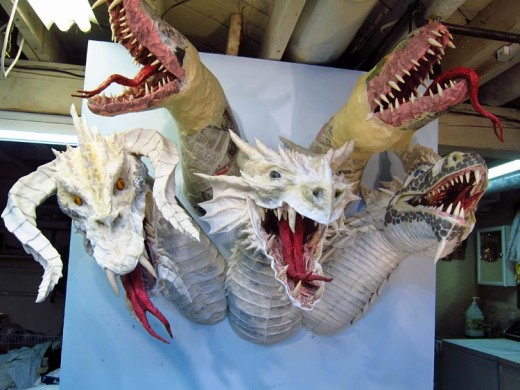 Paper Mache Tiamat Dragon - Blue ready