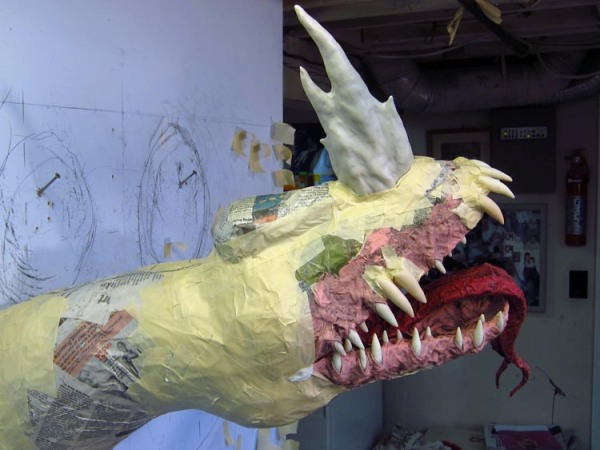 Paper Mache Tiamat Dragon - Blue horn and forehead