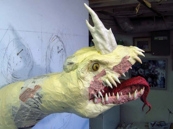 Paper Mache Tiamat Dragon - Blue eyes