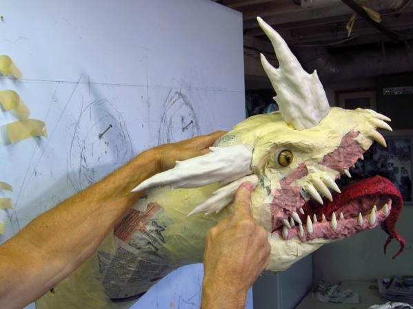 Paper Mache Tiamat Dragon - Blue big horn