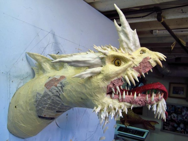 Paper Mache Tiamat Dragon - Blue horns