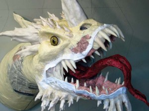 Paper Mache Tiamat Dragon - Blue lips