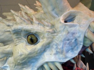 Paper Mache Tiamat Dragon - Blue cloth mache on face
