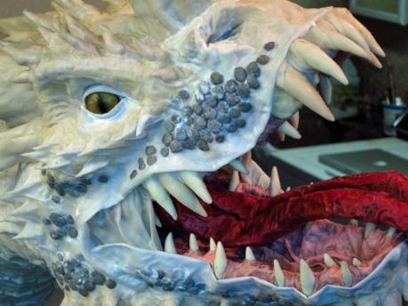 Paper Mache Tiamat Dragon - Blue spit wad