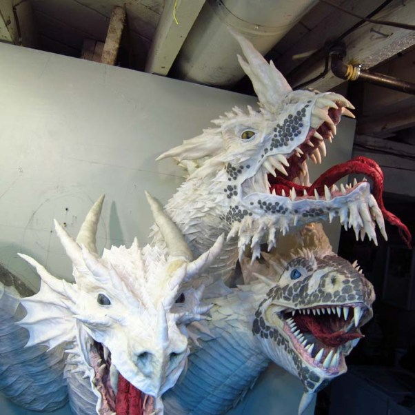 Paper Mache Tiamat Dragon - Blue assembled2