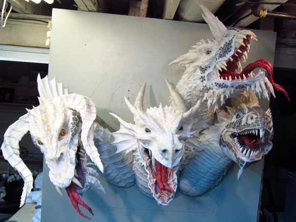 Paper Mache Tiamat Dragon - Blue assembled