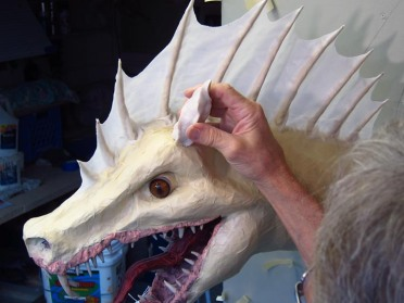 Paper Mache Tiamat - Green horns start
