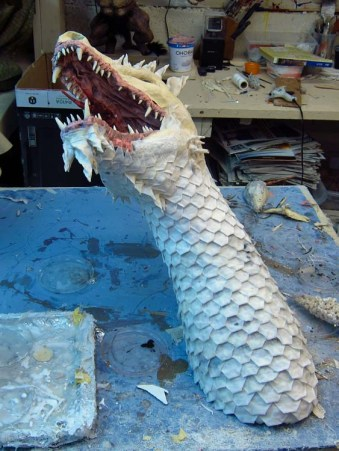 Paper Mache Tiamat - Green breast plates