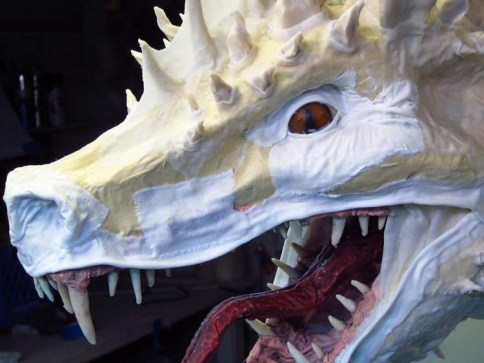 Paper Mache Tiamat - cloth mache eyelids and lips