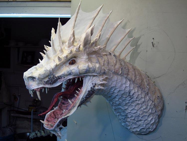 Paper Mache Tiamat Dragon – Green assembly | Gourmet Paper Mache Blog