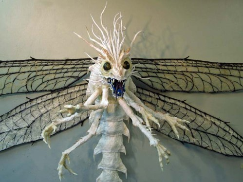paper mache dragonfly finished