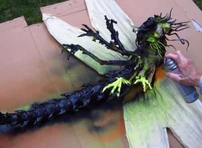 Paper Mache Dragonfly -spray black