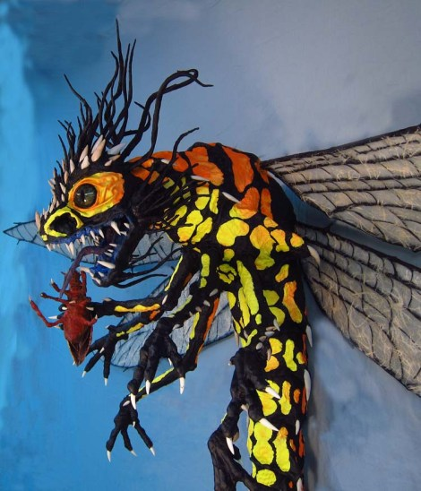 Paper Mache Dragonfly - with bug