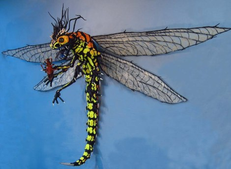 Paper Mache Dragonfly - full