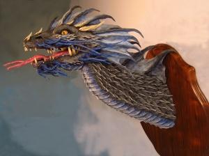 Blue Paper Mache Dragon2