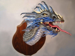 Blue Paper Mache Dragon