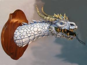 White Paper Mache Dragon