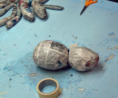 assemble paper mache balls