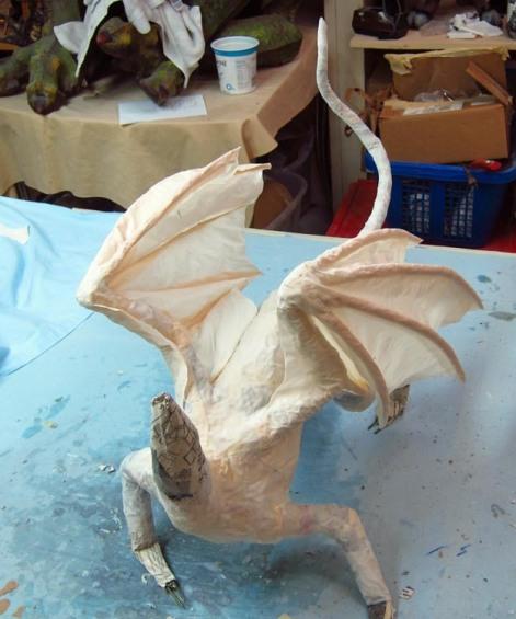 paper mache cat dragon 29+