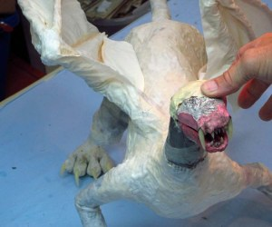 paper mache cat dragon -add head