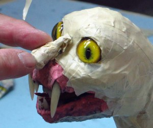 paper mache cat dragon -consider nose