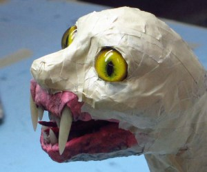 paper mache cat dragon -add eyes