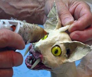 paper mache cat dragon -add one horn
