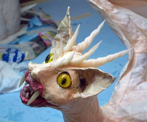 paper mache cat dragon -add horns
