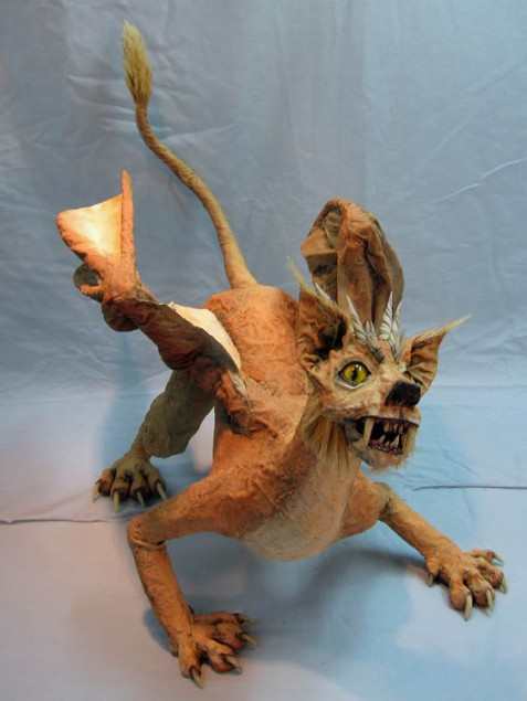 paper mache cat finished 2 -small