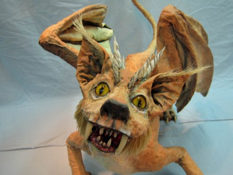 paper mache cat finished close up -small
