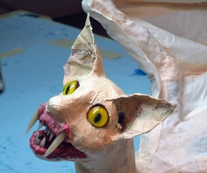 paper mache cat dragon -add ears