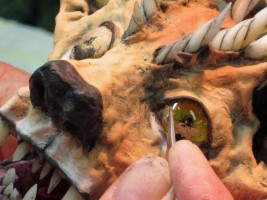 paper mache cat scrape eyes two-small