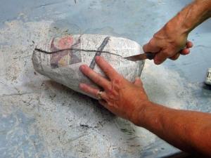 cut paper mache shell