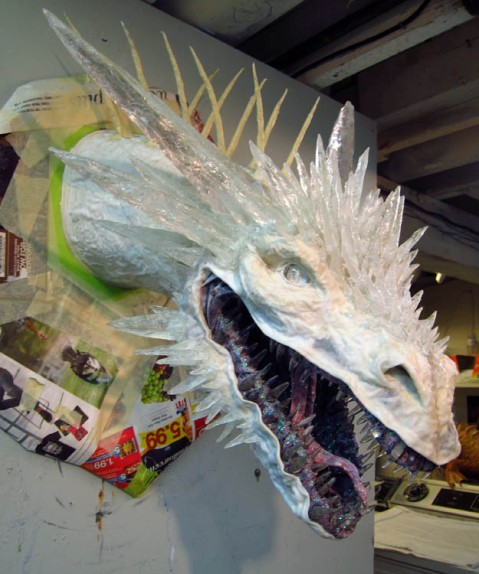 paper mache dragon - lights off