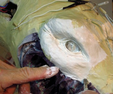 cloth mache around the eyes