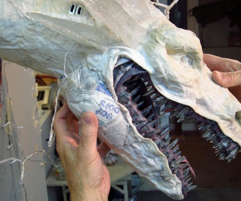 paper mache dragon -add jowls