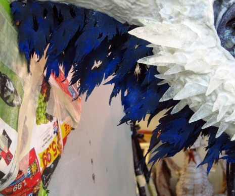 Paper mache Ice dragon -frills under neck