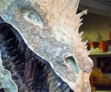 Paper mache Ice dragon -add scales on face