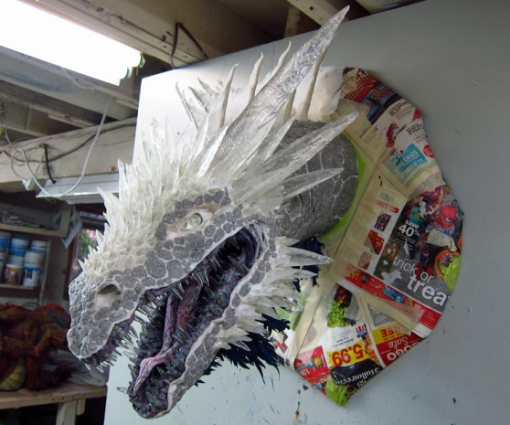 Paper mache Ice dragon -finished assembly lights off