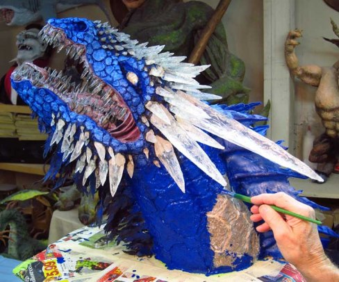 Paper Mache Ice dragon- blue