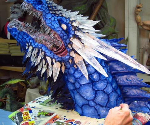 Paper Mache Ice dragon- add white